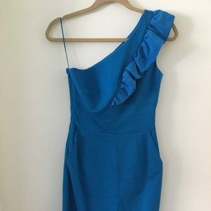Trina Turk one shoulder blue dress with ruffle